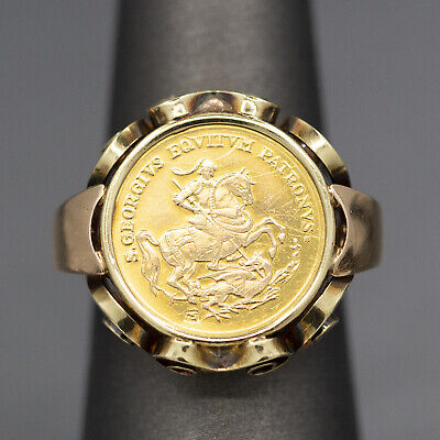 £212.40 • Buy St. George Slaying The Dragon Medallion Coin Ring In 14k Yellow Gold