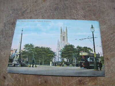 £1.75 • Buy Early Sussex Postcard -- Tram @ St Peter's Church Brighton