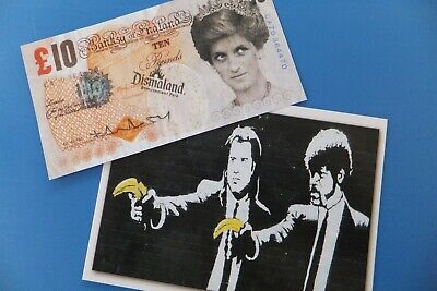 £175 • Buy Banksy Signed Tenner & Dismal Stamp + Postcard From The Dismaland 2015 WSM