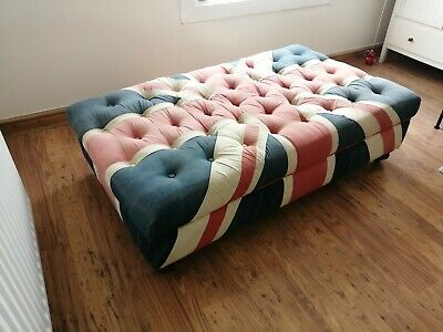 £250 • Buy Halo Large Distressed Union Jack Footstool - Timothy Oulton, Fabric,chesterfield