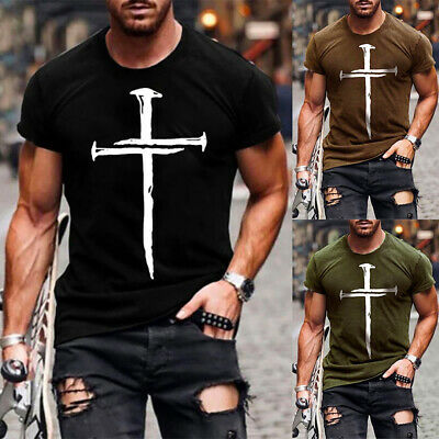 $19.49 • Buy ❤️ Mens Printed Short Sleeve Crew Neck T-Shirt Tops Casual Fitness Muscle Blouse