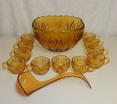 £44.99 • Buy Vintage Amber Glass Punch Bowl 11 Cups & Ladle