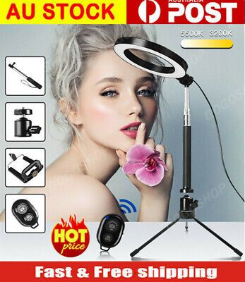 AU8.99 • Buy 8 /10 Inch Dimmable Selfie LED Ring Flash Light With Stand Tripod Phone Holder
