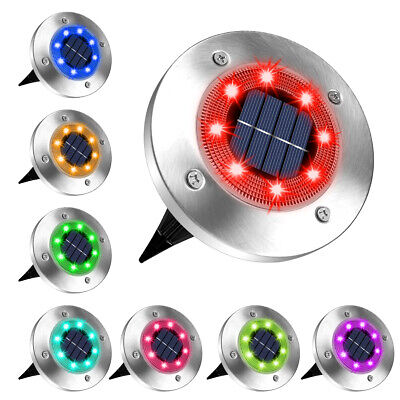 £12.99 • Buy LED Solar RGB Ground Lights Floor Decking Patio Outdoor Garden Lawn Path Lamps
