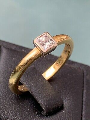 £255 • Buy 18ct Yellow Gold 0.31ct Square Cut Solitaire Diamond Engagement Ring Size N