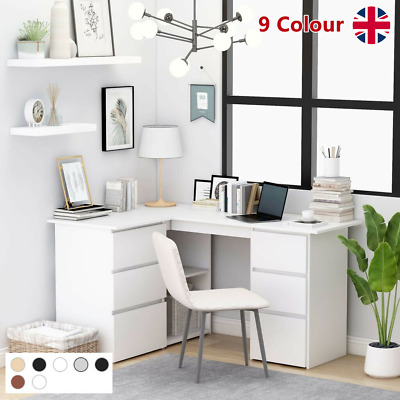 £147.09 • Buy Corner Computer Desk L-Shape Home Office Study Table With Shelf And 6 Drawers UK