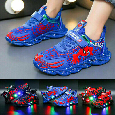 £10.99 • Buy Boys Kids Spiderman LED Trainers Shoes Flashing Light Up Casual Sneakers Size