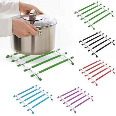 £4.95 • Buy Kitchen Trivet Worktop Saver Hot Pot Pan Stand Rack Silicon And Stainless Steel
