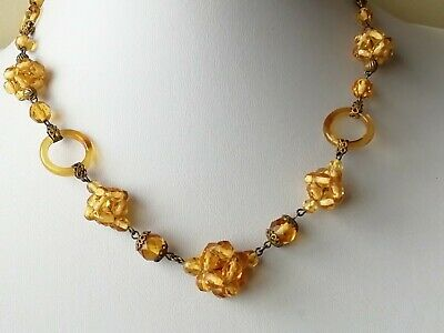 £24 • Buy Vintage Jewellery  Yellow  Glass Antique Necklace