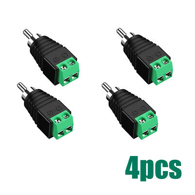 £3.16 • Buy 4x Speaker Wire Cable To Audio Male RCA Connector Adapter Jack Plug Block