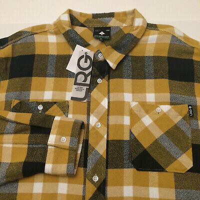 $34.99 • Buy Lifted Research Group LRG Plaid Flannel Shirt Yellow Button Front Men 3XL