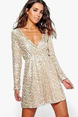 £9.40 • Buy BooHoo Boutique, Gold Sequin Dress, UK Size 14