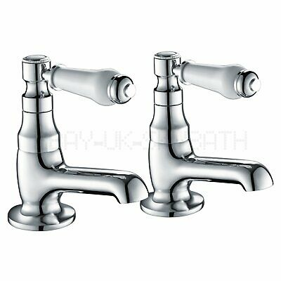£25.59 • Buy 2X Basin Sink Taps Ceramic Lever Traditional Bath Twin Hot &Cold Tap Pair Chrome