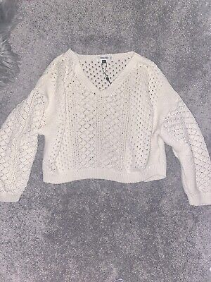 £10 • Buy Missguided Cream Off The Shoulder Crochet Jumper Size S