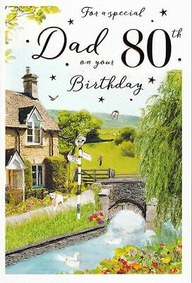 £2.99 • Buy 80th DAD BIRTHDAY CARD ~ AGE 80 ~ SCENIC DESIGN QUALITY CARD & LOVELY VERSE