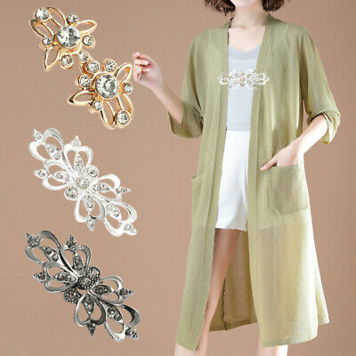 £1.72 • Buy Women Crystal Brooches Pin Rhinestone Buttons Buckle Jewelry Cardigan Clips