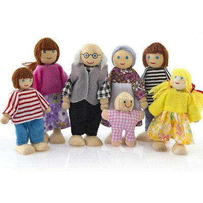 £5.99 • Buy Wooden Furniture Dolls House Set Room Family People Miniature Toys Kids Gifts