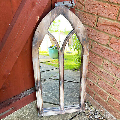 £79.99 • Buy Large Decorative Church Gothic Arched Door Wooden Frame Garden Wall Mirror 75cm
