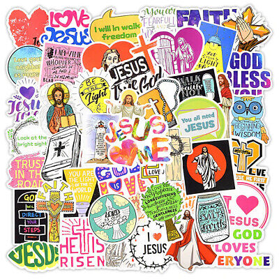 £3.89 • Buy 50 Jesus Christian Religion Stickers Vinyl Laptop Waterbottle Luggage Decal Gift