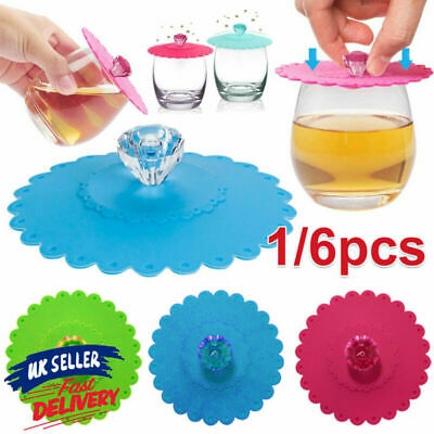 £3.36 • Buy 1/6pcs Anti-dust Cover Seal Cup Lid Suction Glass Drink Silicone Coffee Mug