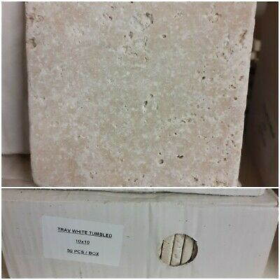 £49 • Buy White Tumbled Travertine Tiles Pack Of 50 (10 X 10cm)  (2 Available, Price Pr)