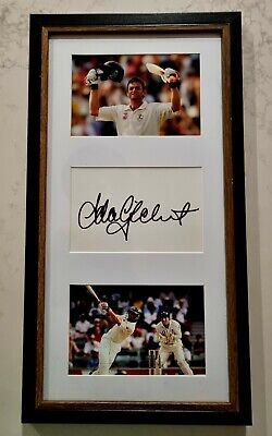 AU99 • Buy ADAM GILCHRIST FRAMED SIGNED IN PERSON NEAT 6x4  INDEX CARD + PHOTOS CRICKET
