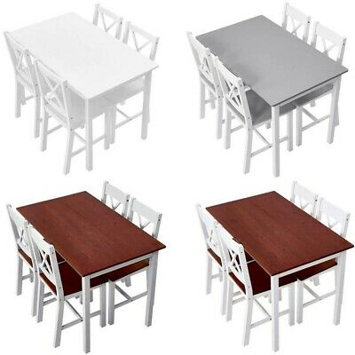 £83.99 • Buy 4 Colors Solid Pine Wood Dining Table And 2/4 Chairs Set Home Kitchen Furniture