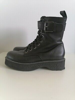 £29.99 • Buy Zara Black Leather Flatform Military Style Biker Ankle Boots With Buckle Size 5