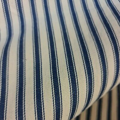 £9.99 • Buy Navy Blue 100% Cotton Canvas Ticking Fabric 54  Wide Sold By Meter Upholstery