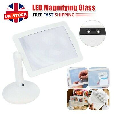 £5.69 • Buy Rotate LED Magnifying Glass Stand With Light Lamp Hands Magnifier Foldable Clamp