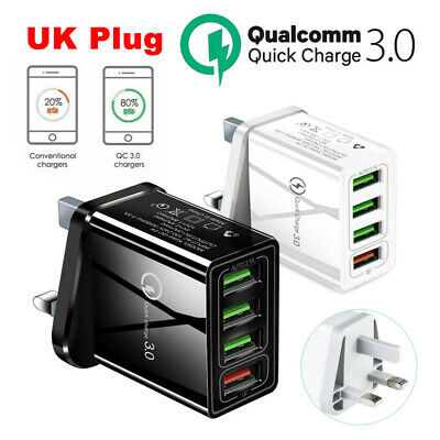 £3.99 • Buy 4 Multi-Port Fast Quick Charge QC3.0 USB Hub Mains Wall Charger Adapter UK Plug