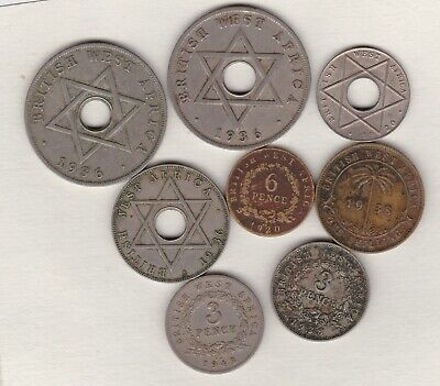 £9.99 • Buy Eight British West Africa Coins 1920h To 1943kn In Fine Or Better Condition