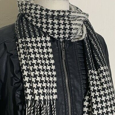£4.24 • Buy Unbranded Womens Scarf OS Black White Houndstooth Color Block Made In Germany