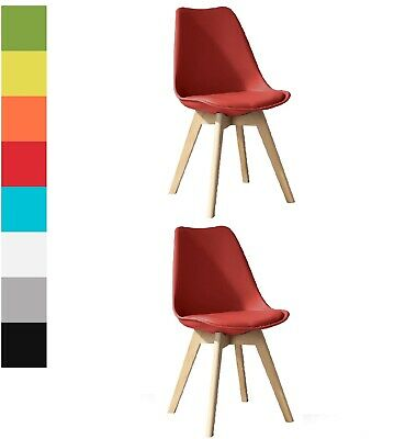 £56.95 • Buy Set Of 2 Dining Chairs Eiffel Chairs Solid Wood ABS Plastic Padded Tulip PU Seat