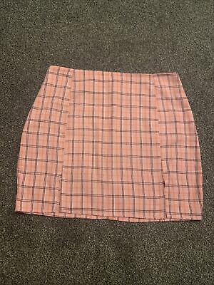£3.47 • Buy Ladies Pink Checked Skirt, Pleated, Size Medium, SHEIN