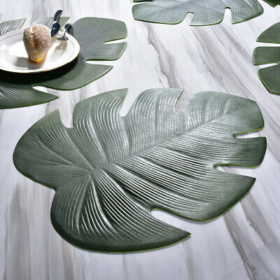 AU13.57 • Buy Leaf Shape Dining Placemats Coaster Mats Non-Slip PVC Washable Cup Table Mat NEW