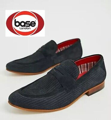 £25.98 • Buy Base London Mens Navy Suede Leather Slip On Shoes New RRP £75 UK Sizes 9 10 11