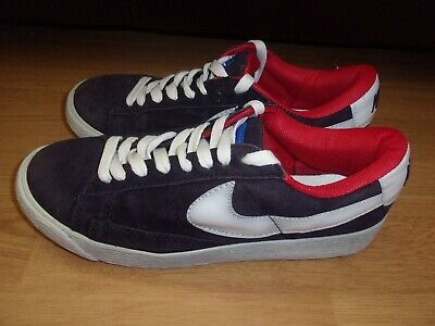 £3.99 • Buy Nike Blazer Low. Navy Blue, White & Red Suede Ladies Trainers Size 4