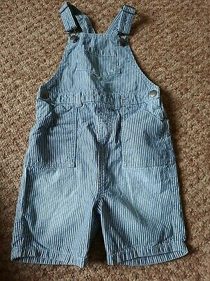 £2.50 • Buy  Girls 3-4 Years Blue And White Striped Denim Short Dungarees
