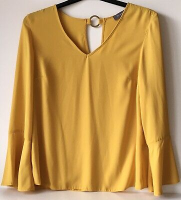 £2.99 • Buy Gorgeous Floaty Womens Mustard Yellow Colour Top - Size 14 Flared Sleeve Primark