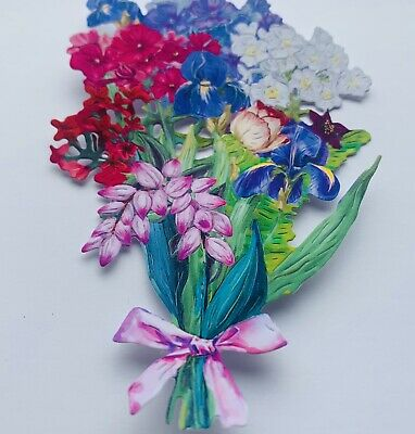 £3.20 • Buy 4 Card Toppers, Colourful Flower Bouquet For Birthday Cards, Iris, Lupin