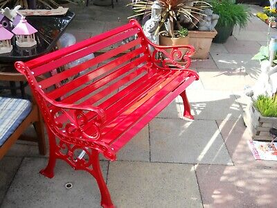 £195 • Buy Restored Cast Wrought Iron Garden Bench Seat Chair With NEW Wood & Fixings