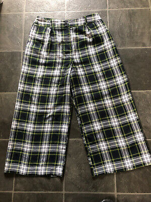 £2.99 • Buy Topshop Cropped Trousers Size 12 Checked With Two Side Lined Pockets