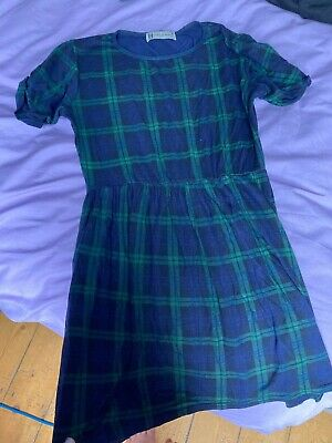 £0.99 • Buy Blue And Green Checked Dress Hearts & Bows Size 6 8 XS