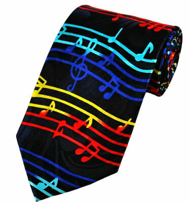 £12.99 • Buy THE TIE STUDIO - Colorful Music On Wave, Musical Notes Men's Luxury Novelty Tie