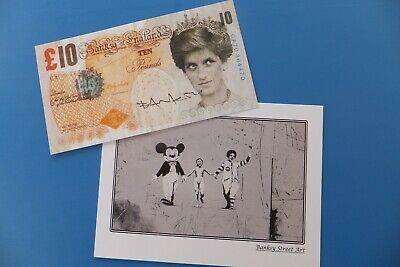 £145 • Buy Banksy Signed Tenner + Postcard From The Dismaland Theme Park 2015 WSM