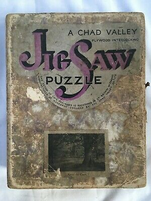 £8 • Buy CHAD VALLEY VINTAGE 1934 BOXED WOODEN JIGSAW PUZZLE Titled Across The Green