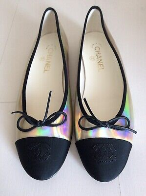 £518 • Buy Chanel Ballet Flats Iridescent Shiny Holographic Size 9 Shoes