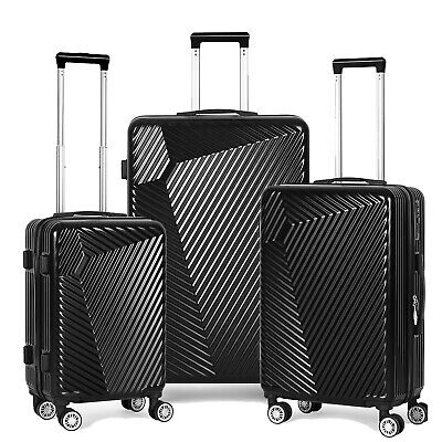 """View Details Black Luggage Sets 3 Piece Travel Spinner Suitcase Lightweight ABS 20'24"""" 28"""" • 105.00$"""