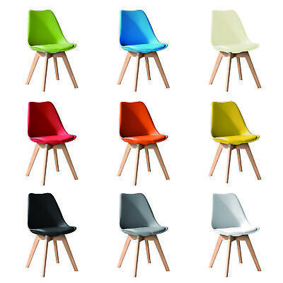 £34.99 • Buy 1x Jamie Dining Chair Eiffel Chairs Solid Wood ABS Plastic Padded Tulip Seat